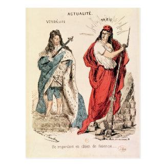 Paris und Versailles, die an einander, 1871 Postkarte