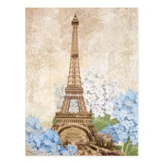 Paris Vintage blaue Hydrangea-Postkarte Postkarte