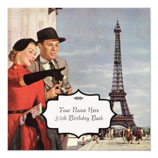 Paris visiert Vintages an Quadratische 13,3 Cm Einladungskarte