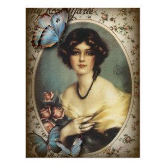 Pariser Mädchen des antiken Blumenschmetterlinges Postkarte