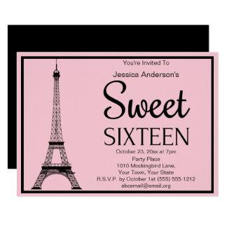 Pariser rosa schwarzer Eiffel-Turm 16. Geburtstag Karte