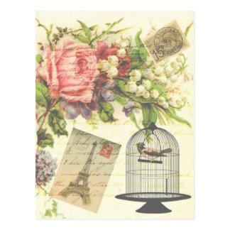Pariszusätze und -geschenk Kunst des Shabby Chic Postkarte