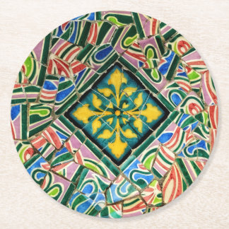 Park Guell Mosaiken Runder Pappuntersetzer