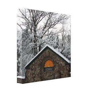 Park-Schutz im Schnee eingewickelten Leinwanddruck