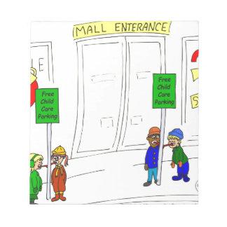 Parken der Kinderbetreuung x09 am Mall-Cartoon Notizblock