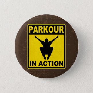 Parkour im Aktions-Schild Runder Button 5,7 Cm