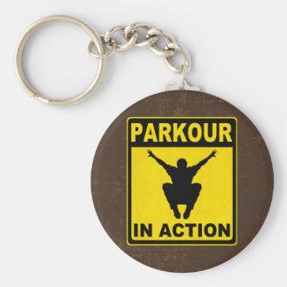 Parkour im Aktions-Schild Schlüsselanhänger