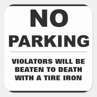 Parkverbot-Aufkleber Quadratischer Aufkleber