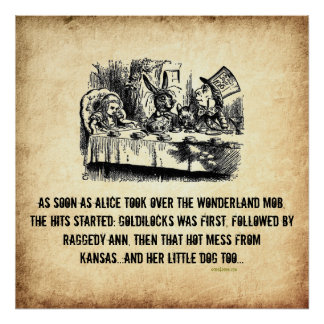 Parodie-Kunst-Plakat Mafia-Boss-Alices (im Märchen
