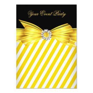Party-Anlass-Gelb-Schwarz-weißer Streifen Personalisierte Einladungen