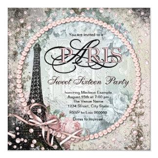 Party Chic-Paris-Bonbon-16 Quadratische 13,3 Cm Einladungskarte