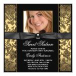 Party des Goldschwarzes Damast-Foto-Bonbon-16 Quadratische 13,3 Cm Einladungskarte