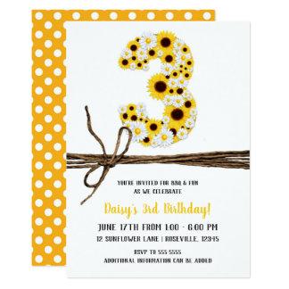 Party des Sonnenblume-u. der Gänseblümchen-DREI 3. Karte