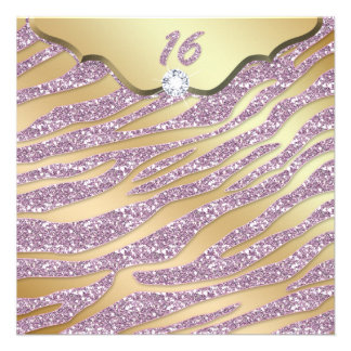 Party des Zebra-Bonbon-16 laden rosa Goldschmuck Ankündigungen
