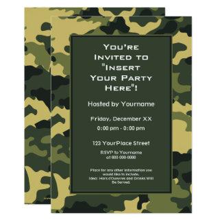 Party Einladung: Grünes Militär tarnt 12,7 X 17,8 Cm Einladungskarte