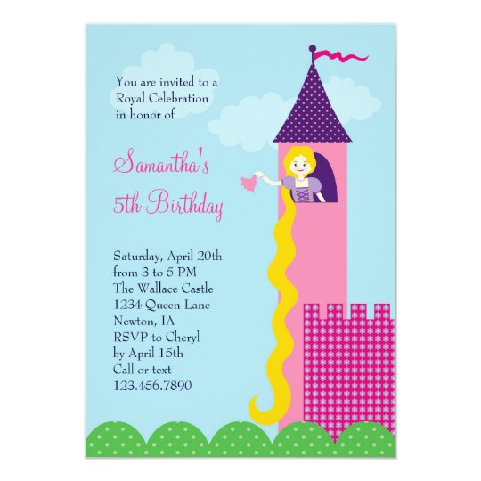 Party Einladung Prinzessin-Rapunzel Birthday