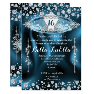 Party Einladung Prinzessin-Sweet 16 Bling