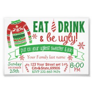Party Einladungs-Karte der Weihnachten4x6 Fotografische Drucke