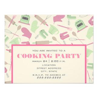 Party Einladungs-- rosa u grüne Küche kochen