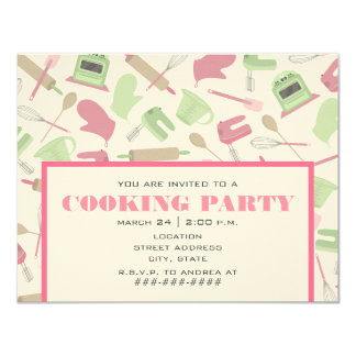 Party Einladungs-- rosa u. grüne Küche kochen Personalisierte Einladungen