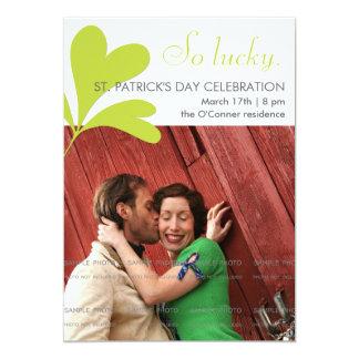 Party-glückliche Kleeblatt-grünes Foto St. 12,7 X 17,8 Cm Einladungskarte