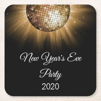Party-Golddisco-Ball 2018 Sylvesterabends Rechteckiger Pappuntersetzer