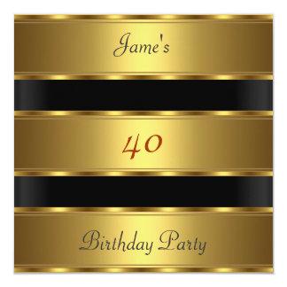 Party-Goldschwarzes Geburtstag der Männer 40. Karte