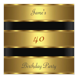 Party-Goldschwarzes Geburtstag der Männer 40. Quadratische 13,3 Cm Einladungskarte