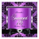 Party-lila Damast-Silber-Schwarzes 16. Geburtstag Einladungskarte