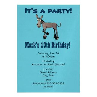 Party! Lustiger großer mit Augen Esel 12,7 X 17,8 Cm Einladungskarte