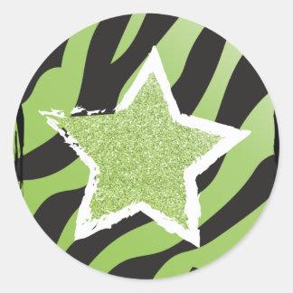 Party mögen einen Rockstar- grünen Runder Aufkleber