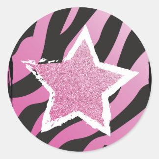 Party mögen einen Rockstar- rosa Runder Aufkleber