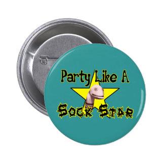 Party mögen einen Socken-Stern Runder Button 5,1 Cm
