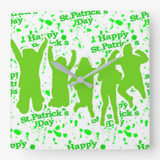 Party-Plakat St. Patricks Tages Quadratische Wanduhr