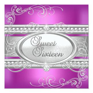 Party-rosa weiße silberne Perle 2 16. Geburtstag Karte