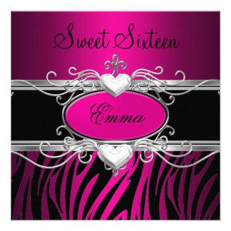 Party-silberner rosa schwarzer Leopard 16 Individuelle Einladungen