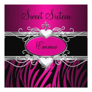 Party-silberner rosa schwarzer Leopard 16. Quadratische 13,3 Cm Einladungskarte