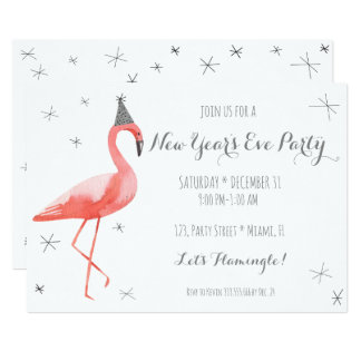 Party-Spaßeinladung Des Flamingo-Sylvesterabends Karte
