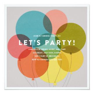 Party steigt Geburtstags-Einladung im Ballon auf Karte