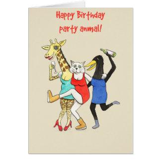 Party-Tiere! Spaßtiergeburtstagskarte für Frauen Karte