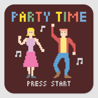 Party-Zeit-Aufkleber Quadratischer Aufkleber