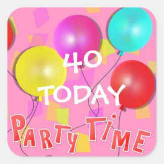 Party-Zeit-bunte Ballone personalisiert Quadratischer Aufkleber