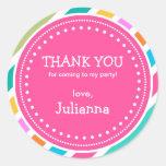 Party-Zeit-Mädchen-Geburtstag danken Ihnen, Runde Aufkleber