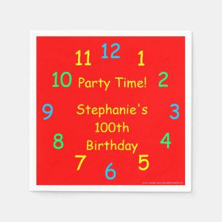 Party-Zeit-Papierservietten, 100. Geburtstag, rot Serviette