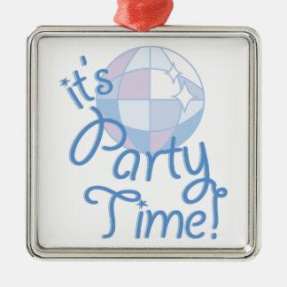 Party-Zeit Quadratisches Silberfarbenes Ornament