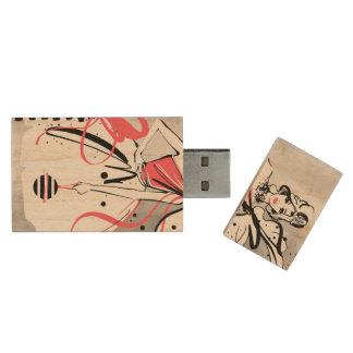 Partymädchen auf silbernem Hintergrund Holz USB Stick