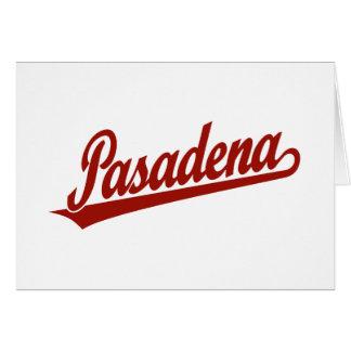 Pasadena-Skriptlogo im Rot Karte