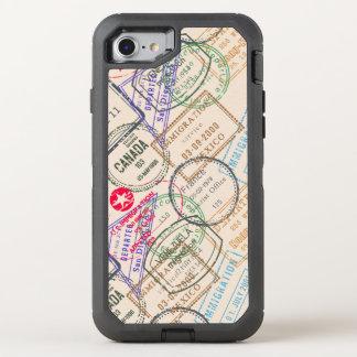 Pass-Briefmarken-Reise Themed OtterBox Defender iPhone 8/7 Hülle