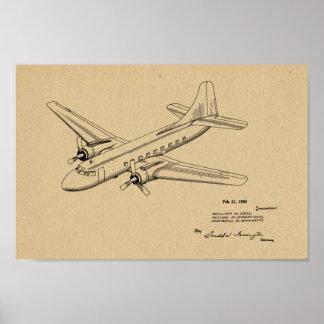 Passagier-Flugzeug-Patent-Kunst 1950, die Druck Poster