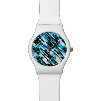 Passen Sie heißes blaues und schwarzes abstraktes Uhr